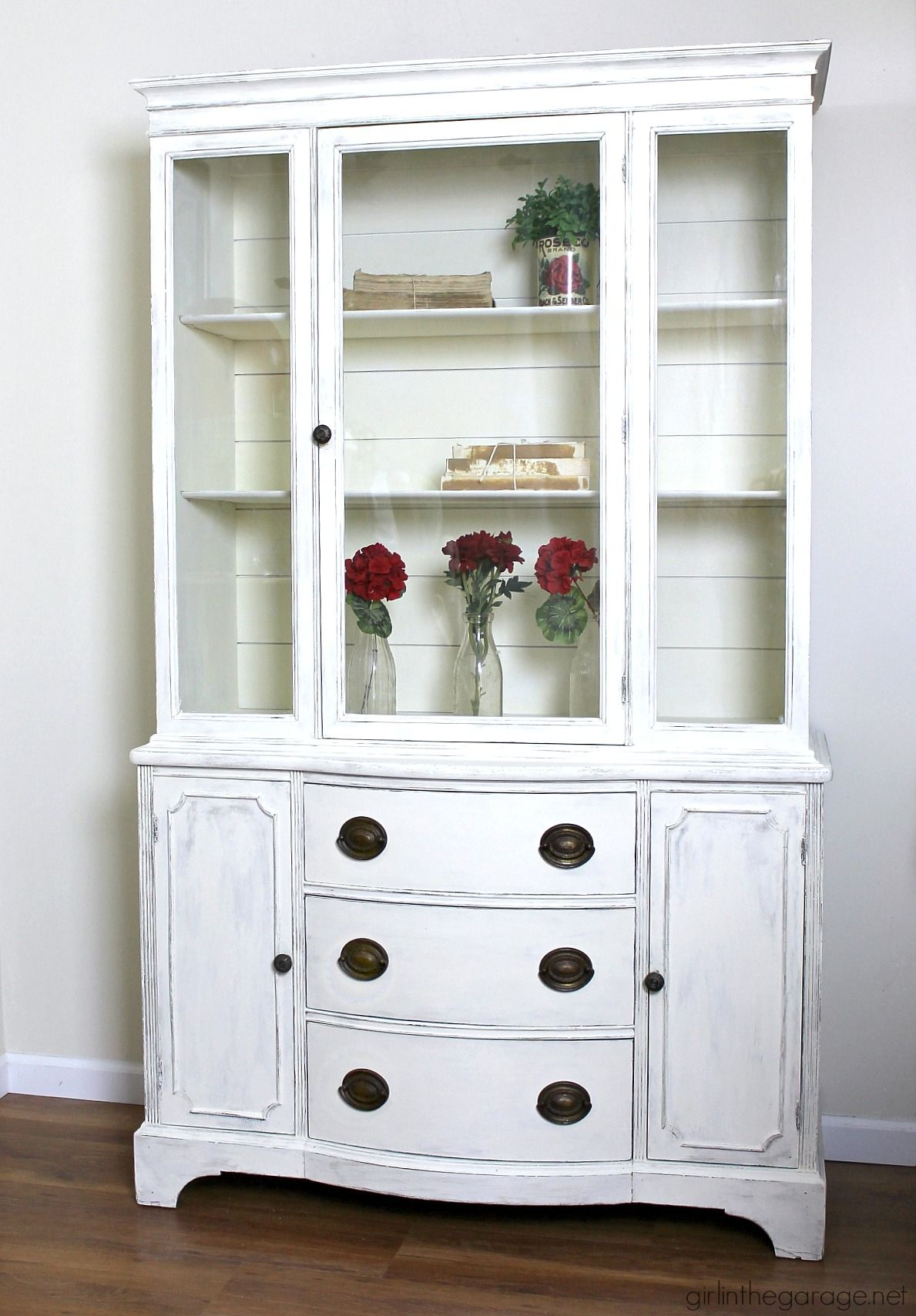 Goodwill antique china cabinet makeover with chalk paint and shiplap for a fresh farmhouse look diy tutorial by girl in the garage