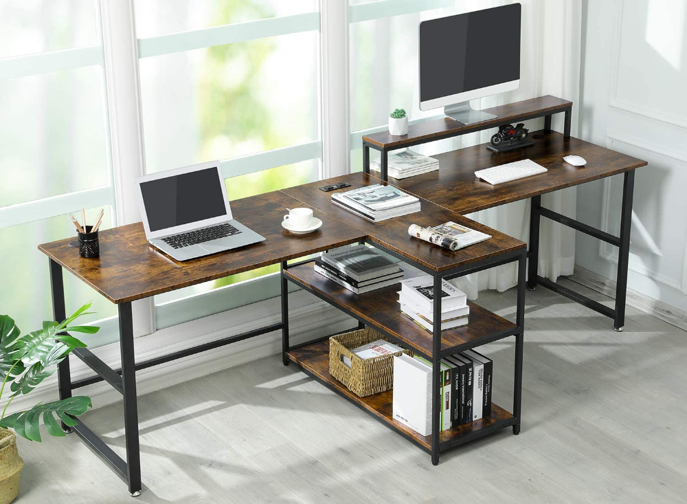 Amazonsmile Sedeta 94 5 Inches Two Person Desk Double Computer Desk With Storage Shelves Extra Long Workstation Desk In 2020 Home Desk Desk Storage Storage Shelves