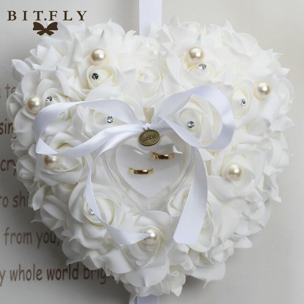1596d21567 Romantic Heart shape Wedding Ring Pillow with Ring Box Rose Flowers  Rhinestone Pearls Wedding decoration ivory red