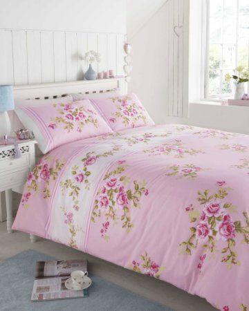 Super King Size 100 Cotton Flannelette Pink White Rose Duvet Cover Bed Set