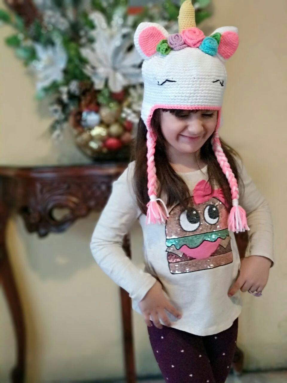 Gorro unicornio crochet Boinas Tejidas d06add36d50