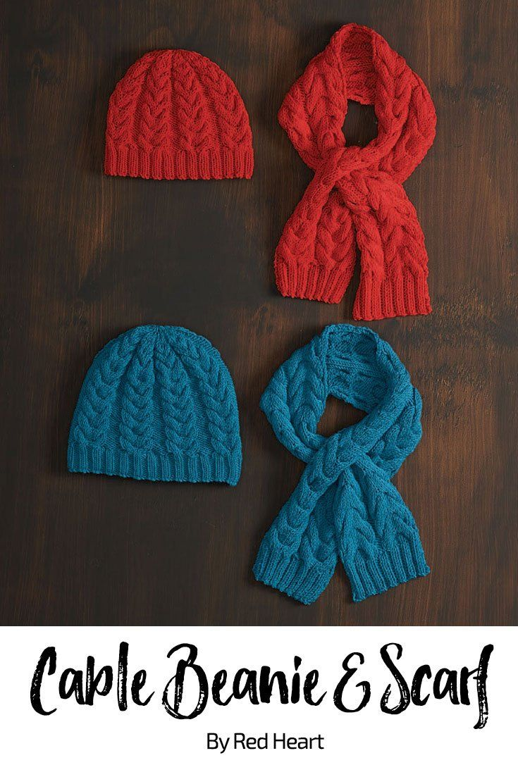 Cable Beanie & Scarf free knit pattern in Cleckheaton ...