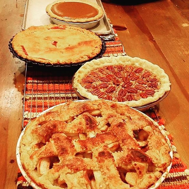 Anyone else super excited about thanksgiving just because there's always copious amounts of pie?! Had to do another throw back of all of the pies I made last year for thanksgiving!! We've got all the classics; Apple bourbon Pecan Cherry and pumpkin! Already making a mental list of pies I want to do for this years thanksgiving.  #pie #sweettooth #pumpkinpie #applepie #cherrypie #bourbonpecanpie #thanksgiving2015 #madefromscratch #bakinggivesmelife