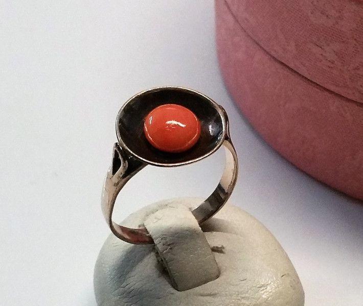 Vintage Ringe - Ring Koralle 333 Rotgold Shabby Vintage GR334 - ein