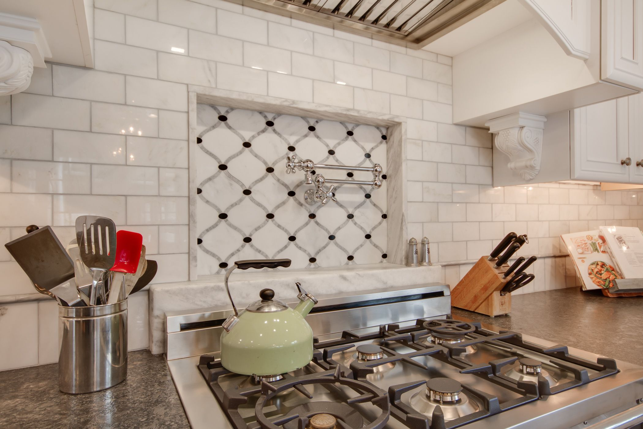 Dream kitchen kitchen ideas pinterest marble subway tiles backsplash is new calacatta marble subway tile with a beautiful waterjet mosaic insert over the stove kitchen by stoneshop from cherry hill nj dailygadgetfo Images
