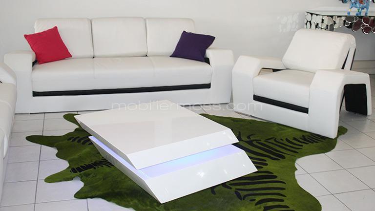 Table Basse Blanche Design A Leds Zutrem Mobilier Moss