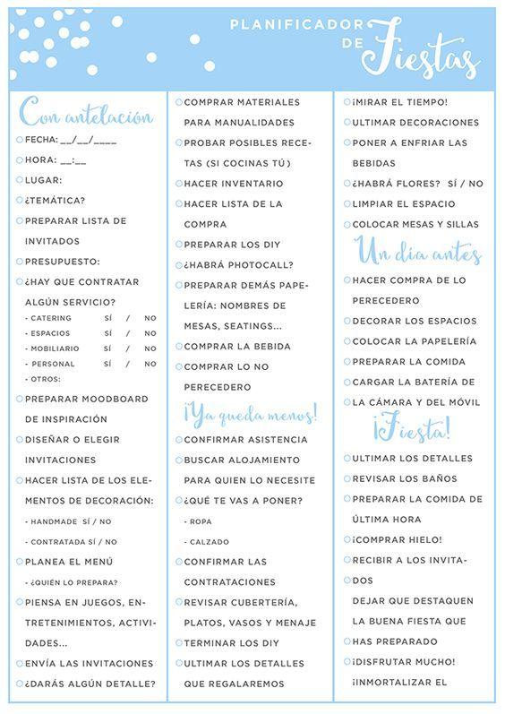 Planificador de fiestas Infografía #ideassoneventos #infografia