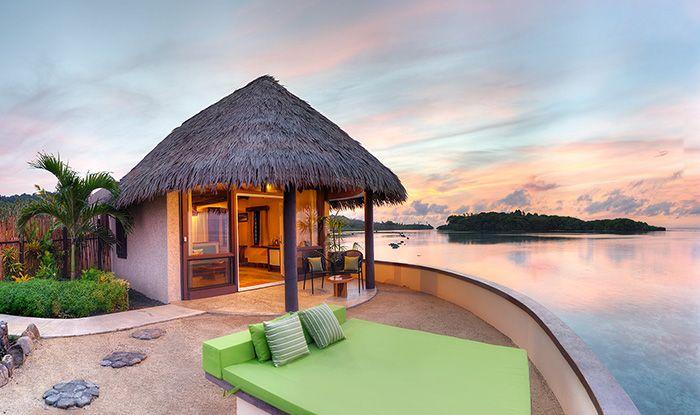 8 Day Fiji Rejuvenation package: resort hotel bure, couples massage, excursions, meals & more.  Travelscene.com
