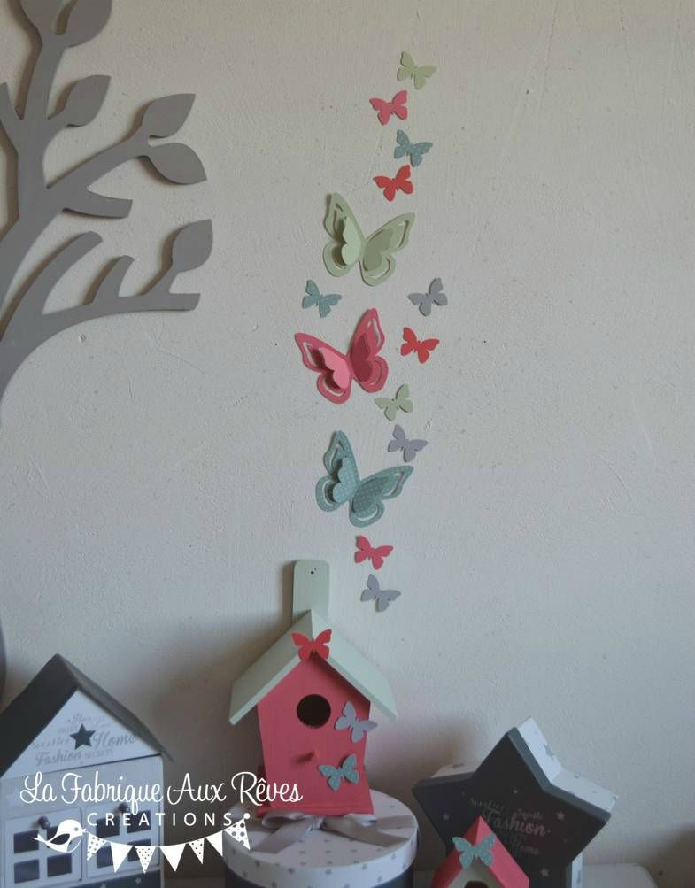 Stickers Papillon Vert D Eau Corail Gris D Coration Chambre B B