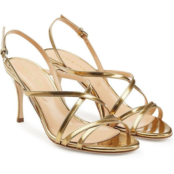 Sergio Rossi Leather Mid Heel Sandals (4902615 BYR) ❤ liked on Polyvore  featuring shoes