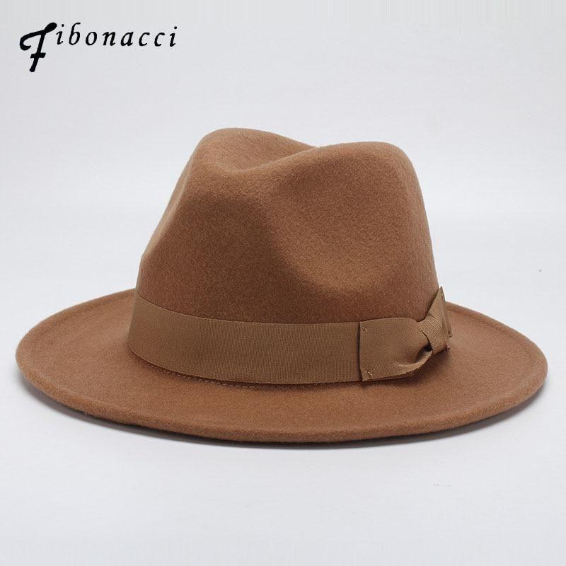 e3c09ebcf Fibonacci Autumn Winter Wide Brim Fedora Men Brown Jazz Hat Flat ...