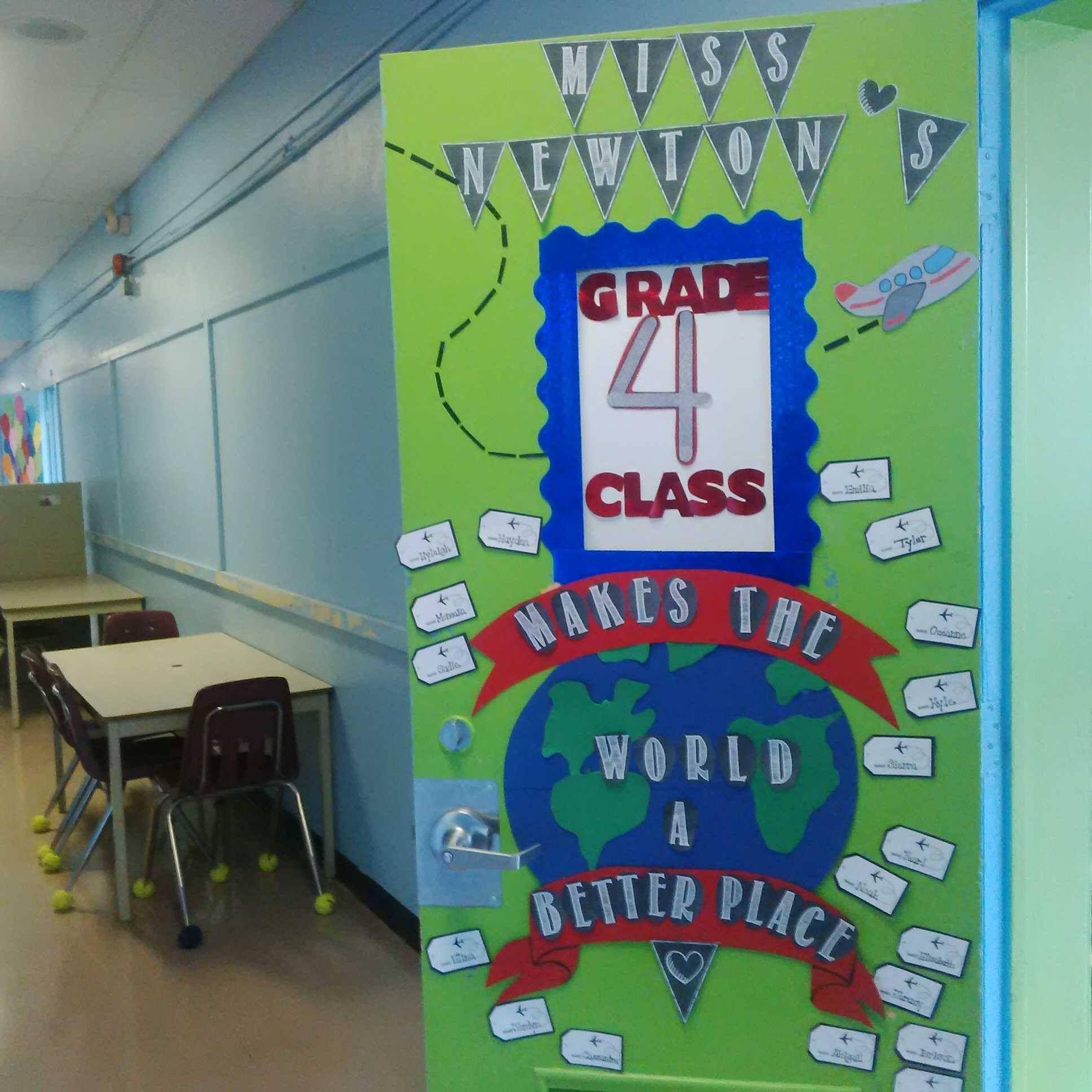 Grade 4 around the world theme classroom door decor for Around the world party decoration ideas