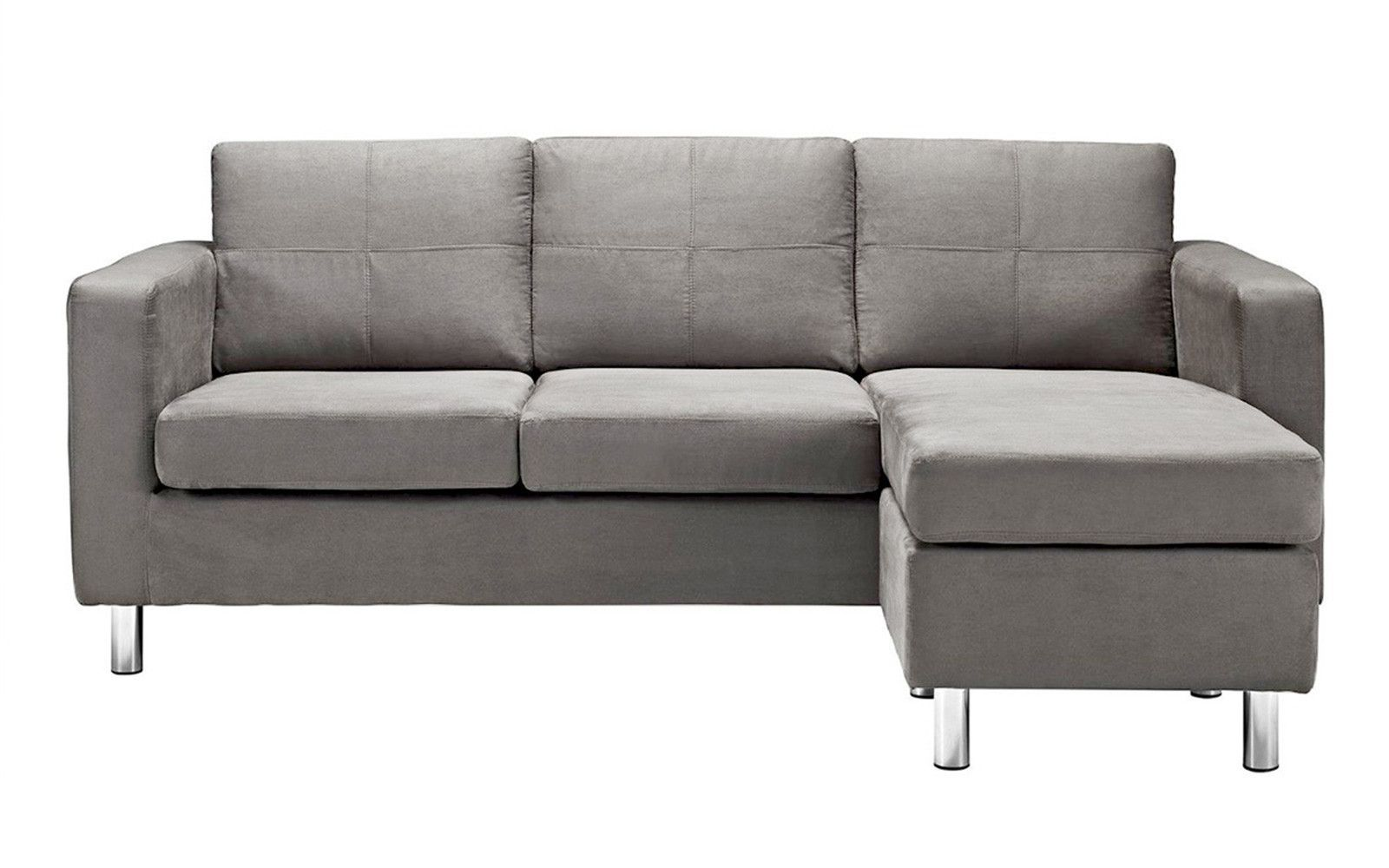 Metro Modern Reversible Small Microfiber Sectional Sofa With Chaise
