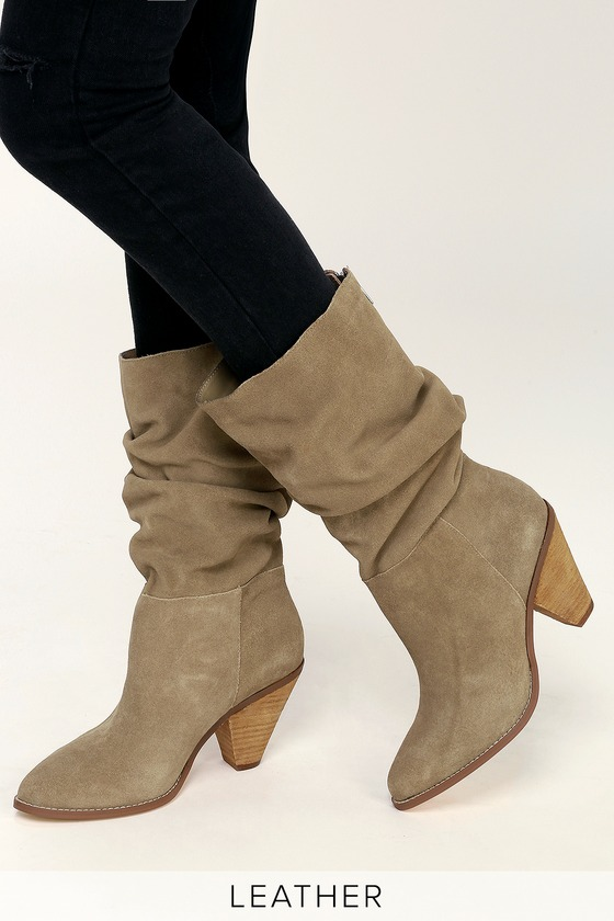 Stella Mink Suede Leather Slouchy Mid