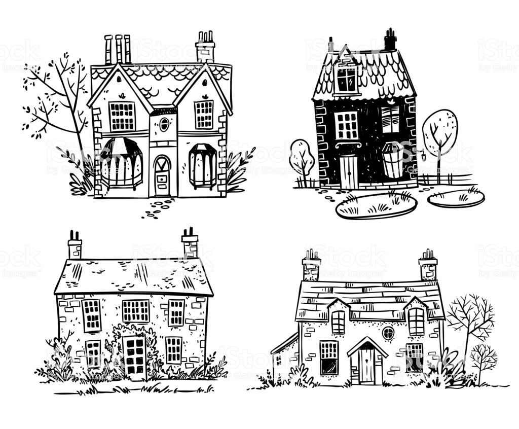 Set Of Pretty English Cottages Vector Drawing Cottage Drawing Cottage Illustration Vector Drawing