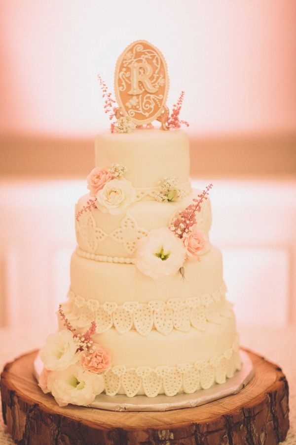 lacy wedding cake // photo by Ryan Price // dessert by Peace of ...