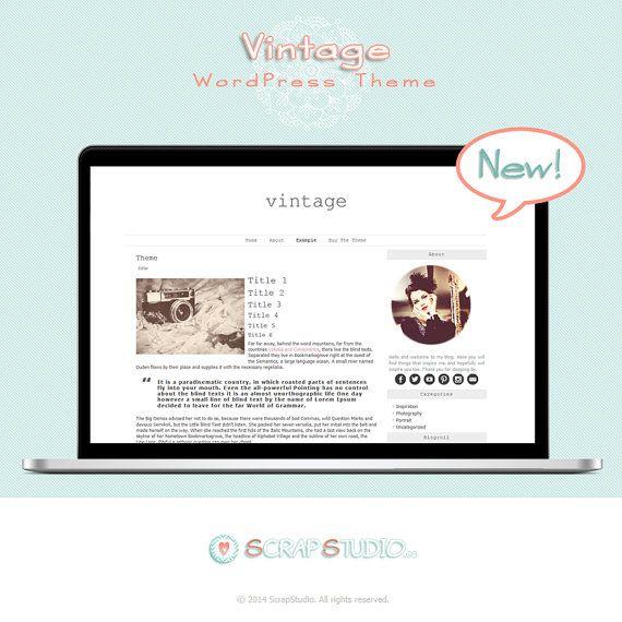 Vintage Tema WordPress Diseño Plantilla por @ScrapStudioES | My ...
