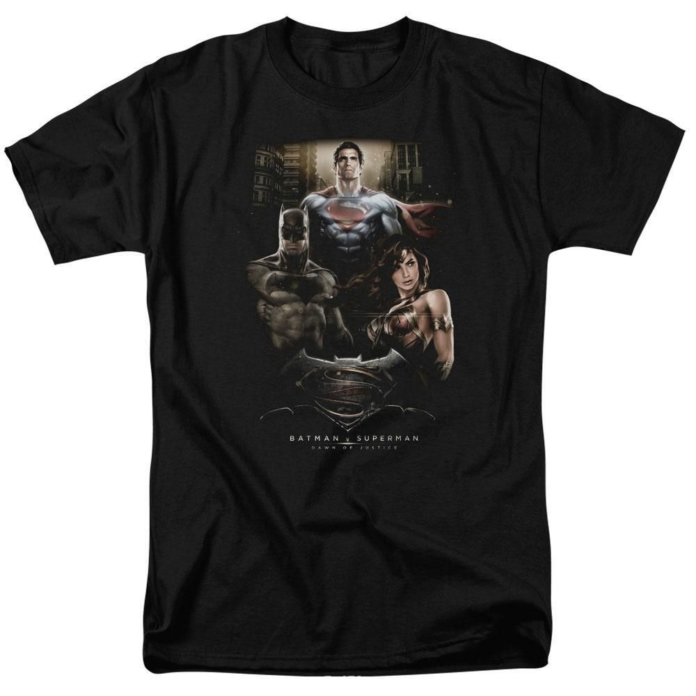 The shirt features the trio Batman Superman and Wonder Woman from Batman v Superman. This 100% cotton t-shirt is available…