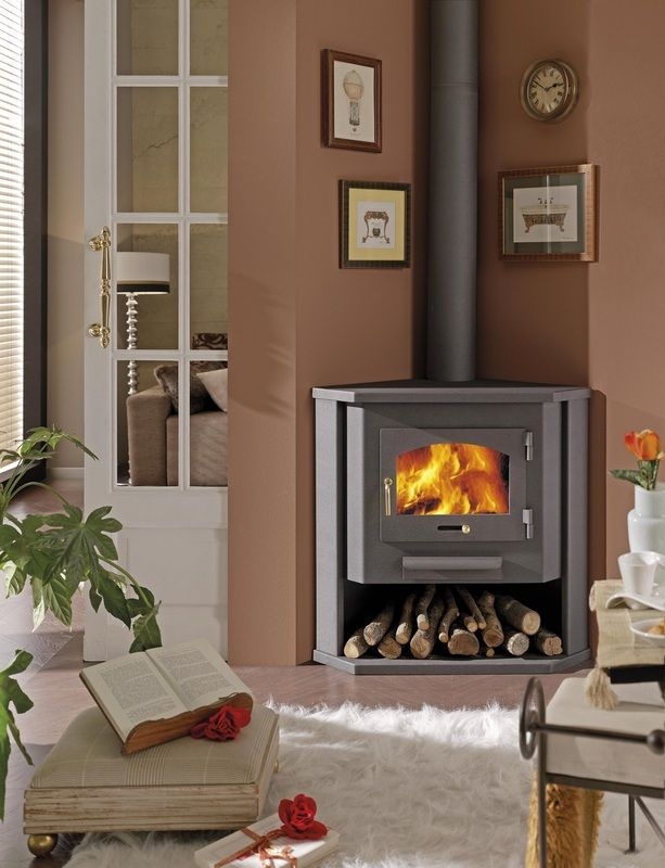 Sketch of Corner Wood Burning Stove: Functional and Interior Beautifier - Sketch Of Corner Wood Burning Stove: Functional And Interior