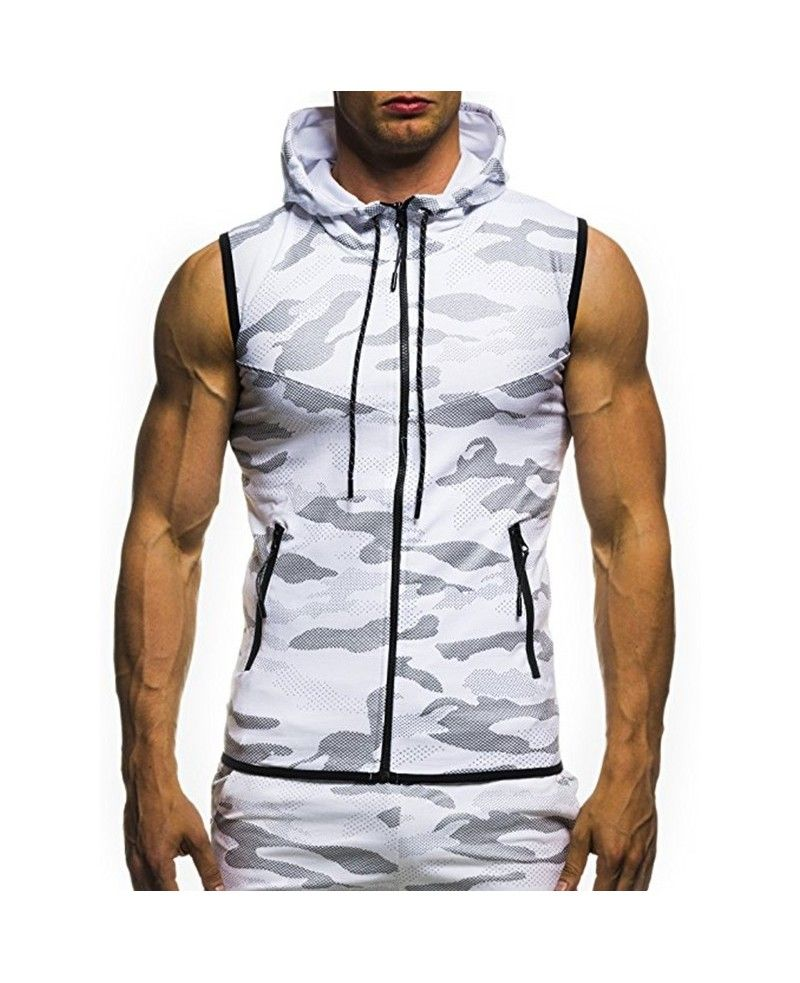 Mens Shirt Vest Zipper Casual Camouflage Print Tops Hooded Sleeveless Fit Slim Tank Top