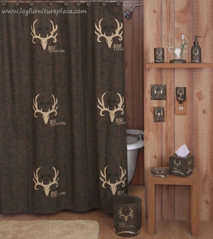 Bone Collector Shower Curtain Hunting Bathroom Decor Brown