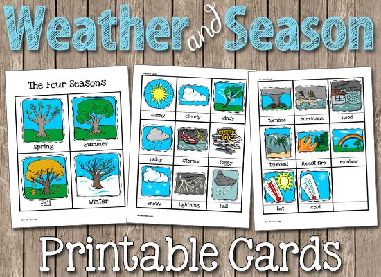 weather   seasons printable cards circle time