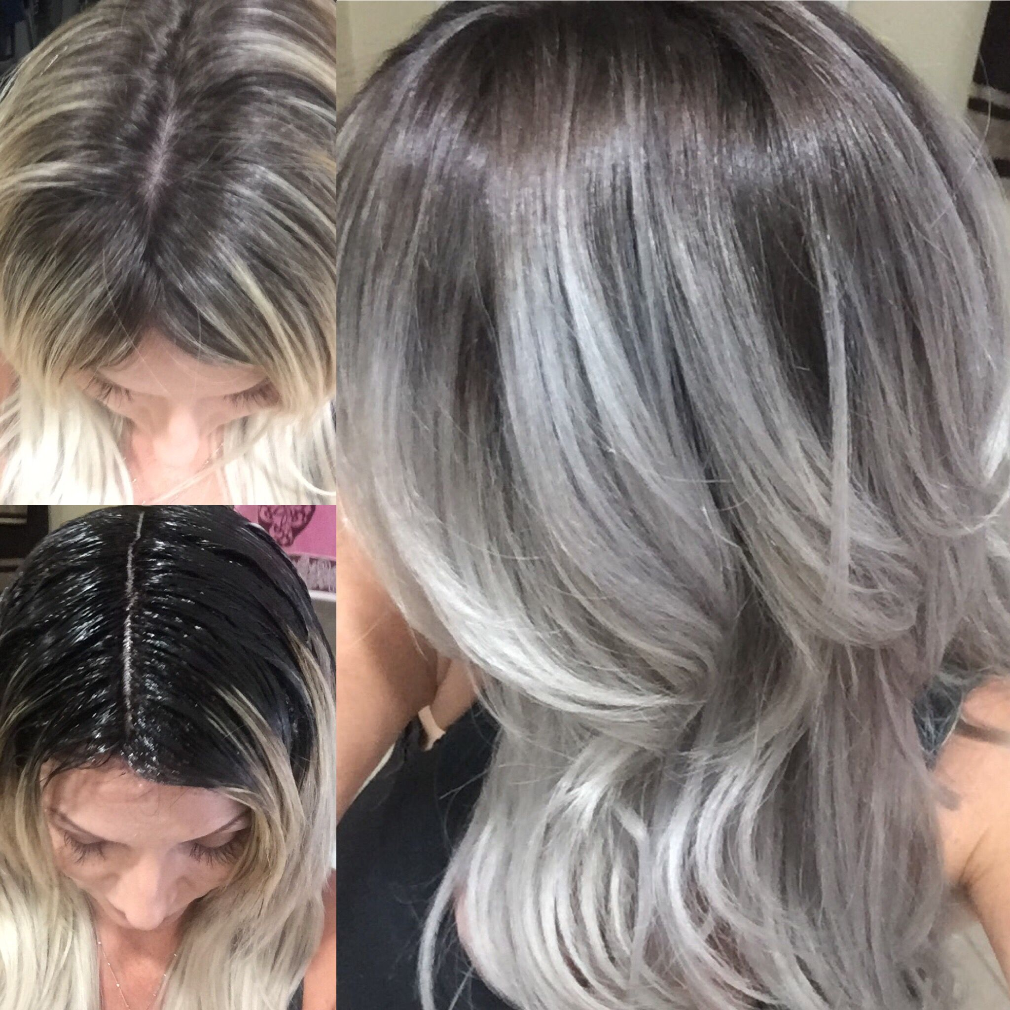 Adding a darker base to pre lightened hair. Reverse balayage. Ash / silver /ice /icy hair