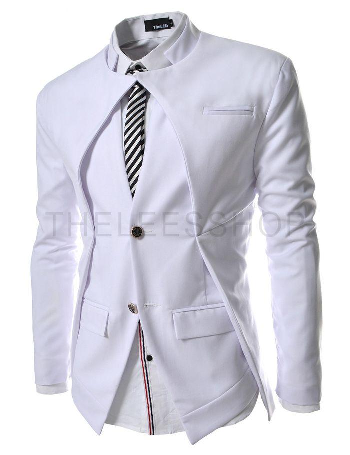 8e38e31c8f039 NJK7-WHITE) Slim fit Double Collar 2 Button Blazer Jacket ...