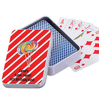 Personalized Lollipop Stripes Playing Cards for candy themed parties.