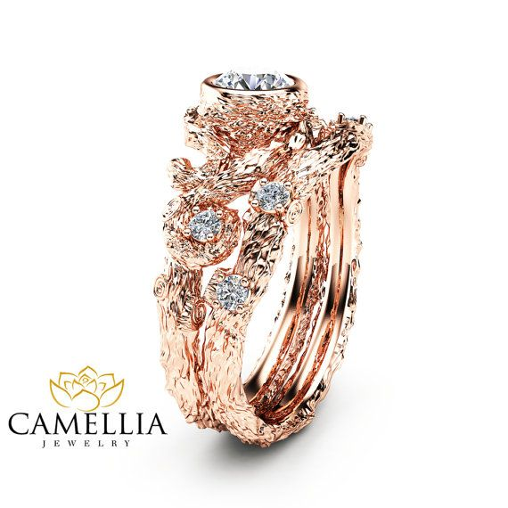Nature Inspired Diamond Engagement Ring Set 14K by CamelliaJewelry