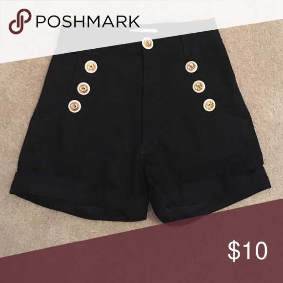 Navy High Waisted Sailor Shorts Navy blue sailor shorts with 7 buttons with golden anchors, folded at the bottom, high waisted Shorts