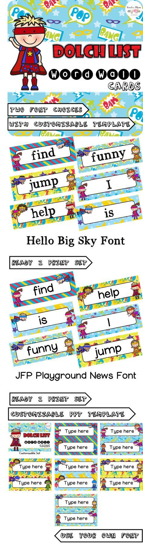 editable word wall cards