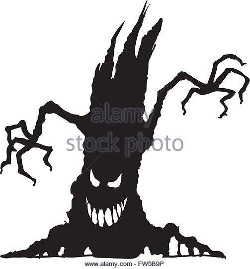 Scary Tree Silhouette Stock Photos & Scary Tree Silhouette