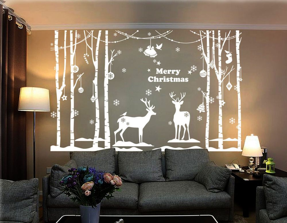 christmas decoration xmas vinyl shop windows wall stickers uk