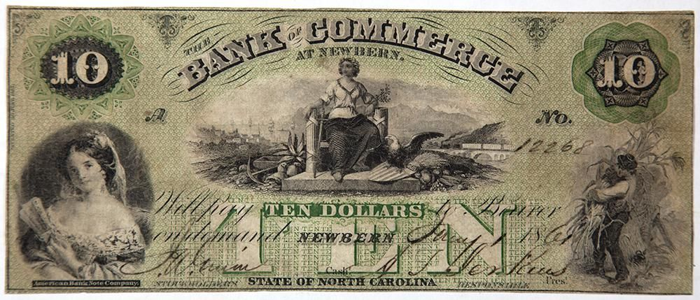 North Carolina Obsolete Currency Bank of Commerce Ten Dollar