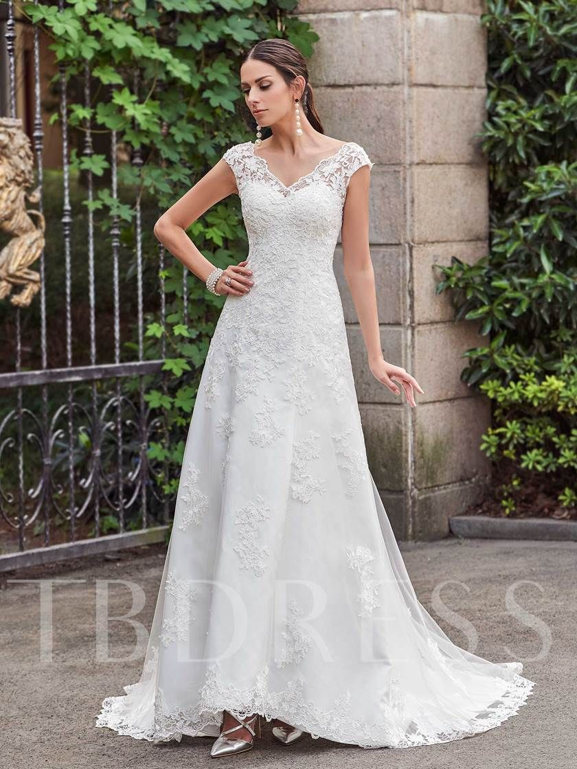 V-Neck Lace Appliques Court Train Button A-Line Wedding Dress 80901c699