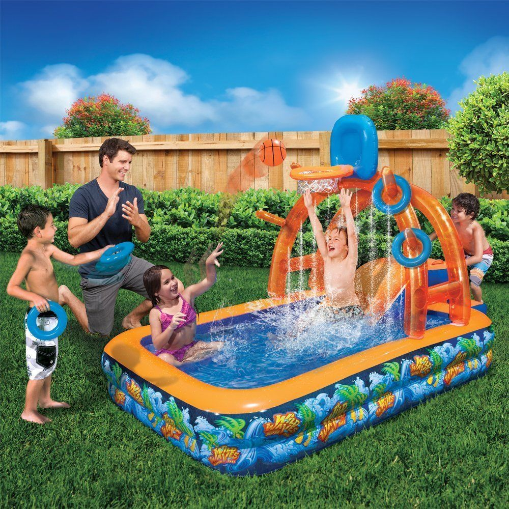 water park slide pool inflatable basketball hoop backboard bounce