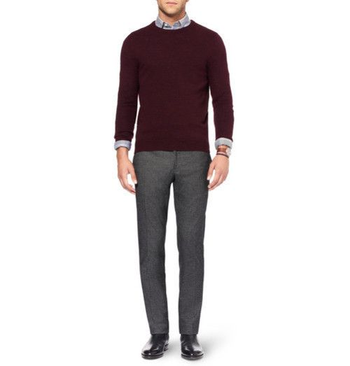 Men's Burgundy Crew-neck Sweater, Grey Long Sleeve Shirt, Grey ...