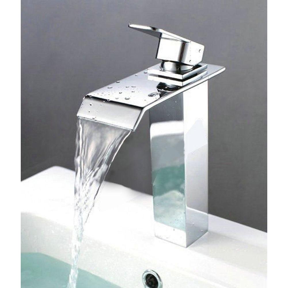 Kokols Single Hole 1 Handle Waterfall Bathroom Faucet In Chrome 81h37 The Home Depot Vessel Sink Faucet Faucet Bathroom Faucets Waterfall