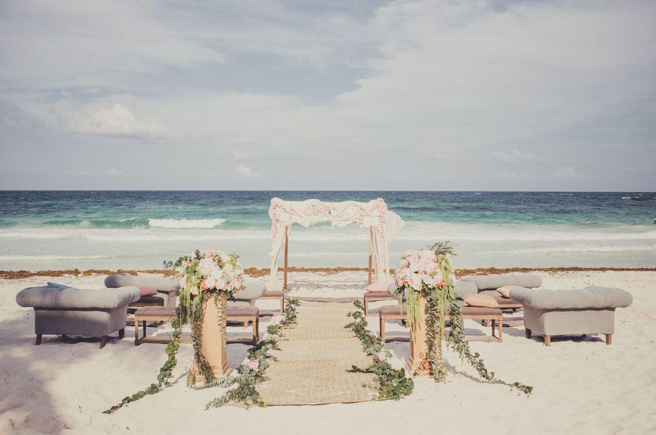 Beach wedding spots  Romantic Destination Wedding in Tulum Mexico Taylea  Robin