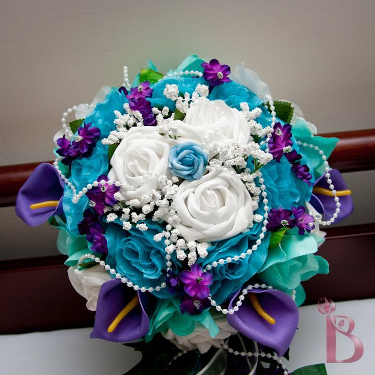 Bridal Cascading Silk Flower Wedding Bouquet In Turquoise Purple And Aqua Teal By TheBridalFlower