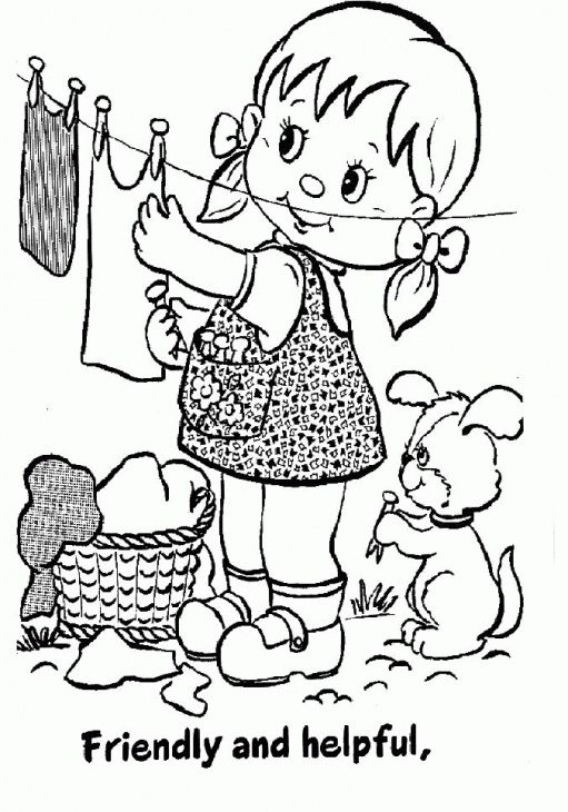 Girl Scout Educational Coloring Page For Litle Girls
