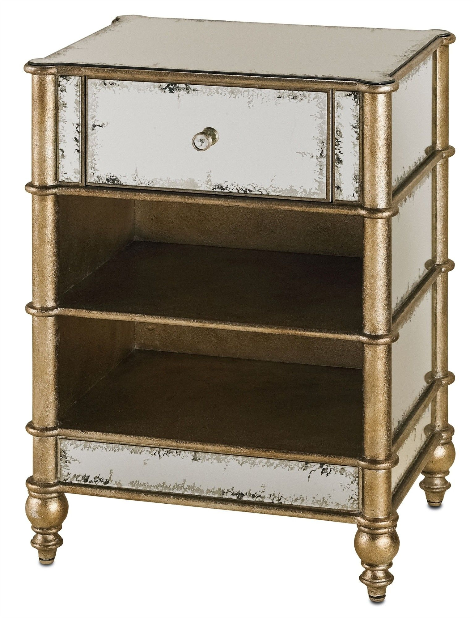 Antiqued Mirror Side Table With Shelves And A Single Drawer ON BACKORDER  UNTIL JANUARY 2015