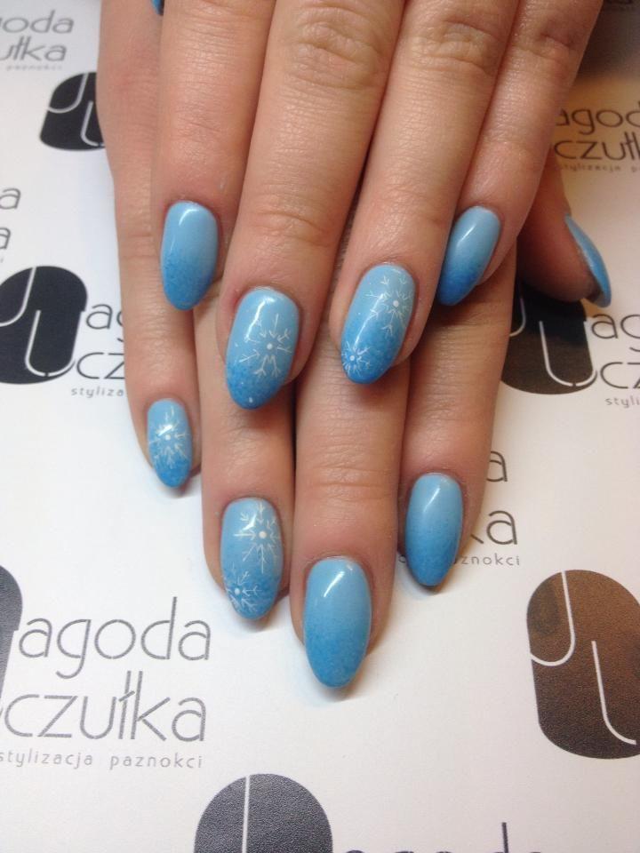 Blue Ombre śnieżynki Zimowe Inspiracje Nails Wzorki Winter