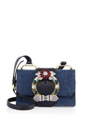 b5687f31e2f7 MIU MIU Lady Crystal-Buckle Denim Shoulder Bag.  miumiu  bags  leather   lining  denim  shoulder bags  crystal  cotton