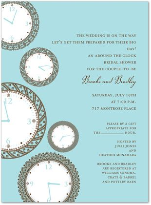 Clock Bridal Shower Invitations Faces Of Time Bali 23294