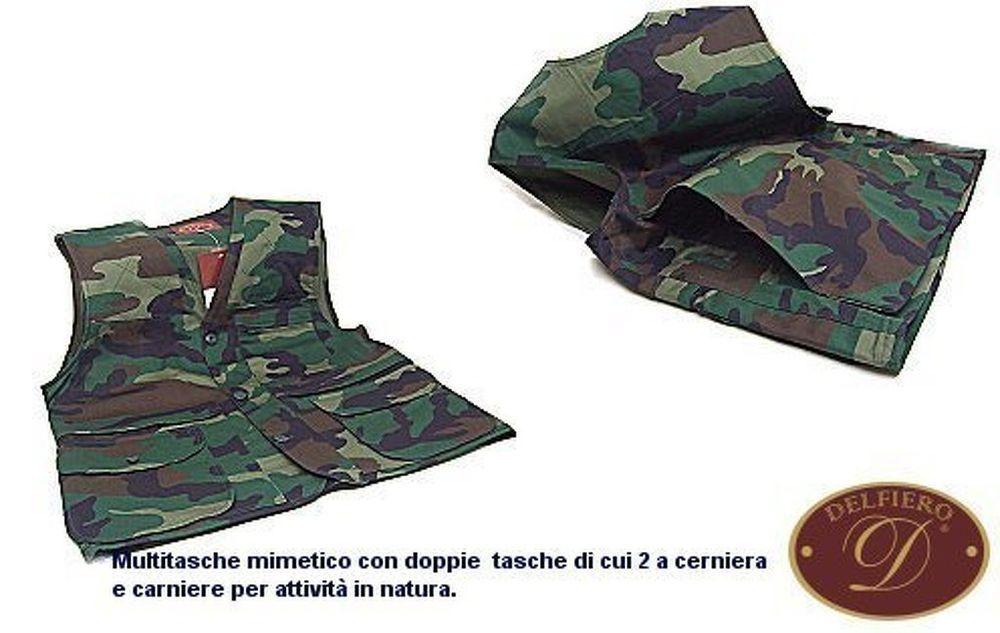 GILET DELFIERO MIMETICO TAGLIA 50 DA CACCIA CON CARNIERE E TASCH