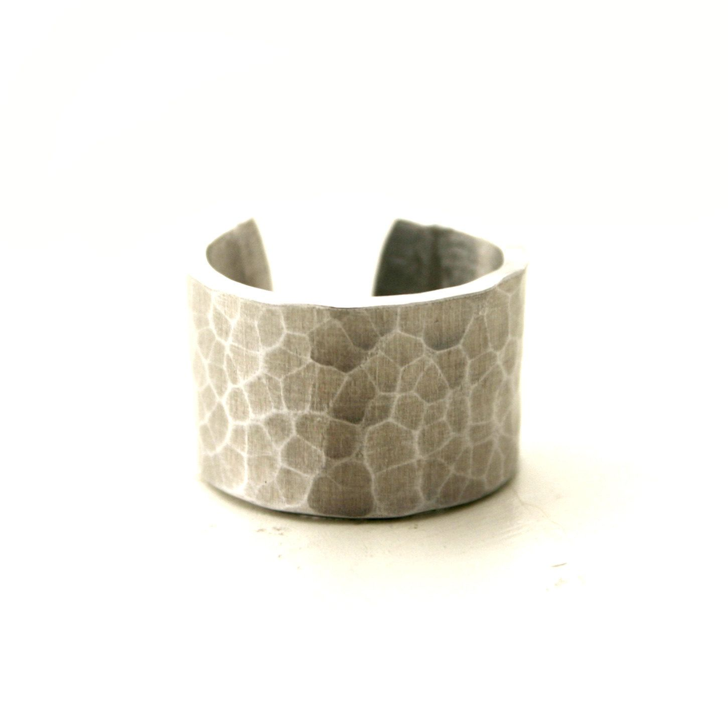 WIDE Silver hammered ring. $22.00, via Etsy.