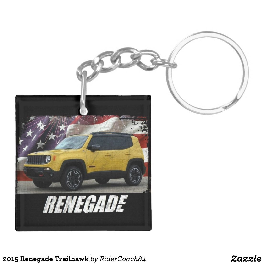 2015 Renegade Trailhawk Double Sided Square Acrylic Keychain