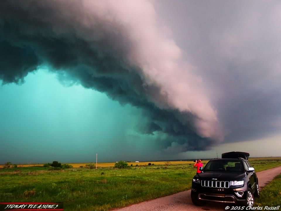 photo by Charles Russell. Massive HP Supercell in northern Texas, somewhere beyond Electra, TX. 5/8/15 Not the best of chase days, but we did manage to see some awesome structure. This is one of my best shots from the day. Chasers And The Storm. Really nice HP structure! Check out the color of that rain/hail core! Can't wait to get back out there later today and tomorrow!
